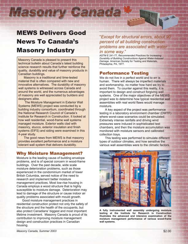 Masonry Canada News Bulletin